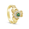 14k Yellow Gold Diamond & Emerald Claddagh Ring 12.2mm