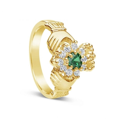 10k Yellow Gold Diamond & Agate Claddagh Ring 12.2mm