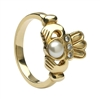 10k Yellow Gold Antique Style Pearl & Diamond Claddagh Ring 13mm