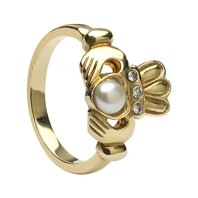 14k Yellow Gold Antique Style Pearl & Diamond Claddagh Ring 13mm