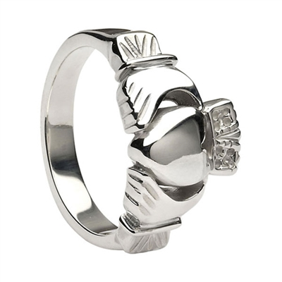 14k White Gold Men's Heavy Traditional Claddagh Ring 11.4mm