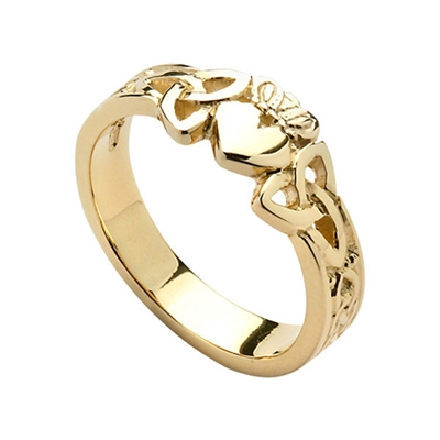 14k Yellow Gold Ladies Trinity Knot Claddagh Ring 7.6mm