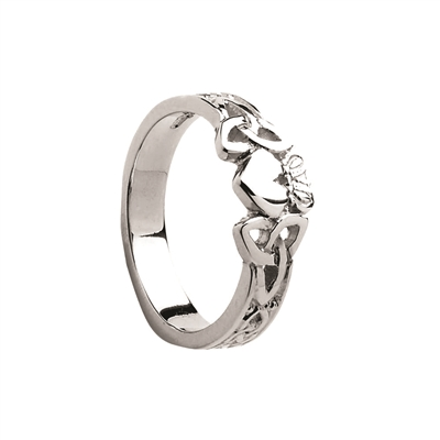 Sterling Silver Ladies Trinity Knot Claddagh Ring 7.6mm