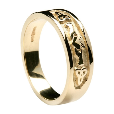 14k Yellow Gold Ladies Trinity knot Claddagh Ring 7.2mm