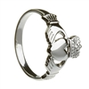 10k White Gold No.3 Style Heavy Ladies Claddagh Ring 13mm