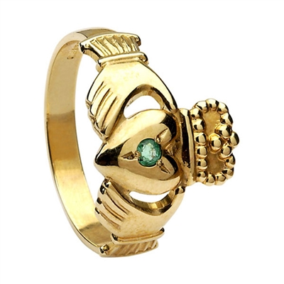 14k Yellow Gold No.3 Style Medium Emerald Claddagh Ring 13mm