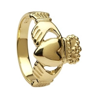 10k Yellow Gold No.3 Style Medium Claddagh Ring 13mm