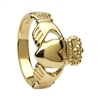 14k Yellow Gold No.3 Style Medium Claddagh Ring 13mm