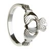 10k White Gold No.4 Style Ladies Claddagh Ring 13.4mm