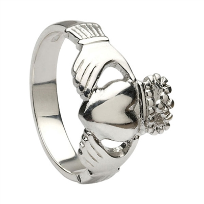 10k White Gold No.5 Style Heavy Men's Claddagh Ring 14mm