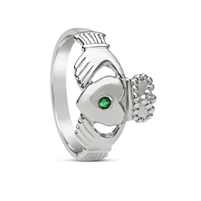10k White Gold Men's Emerald Large Claddagh Ring 14mm