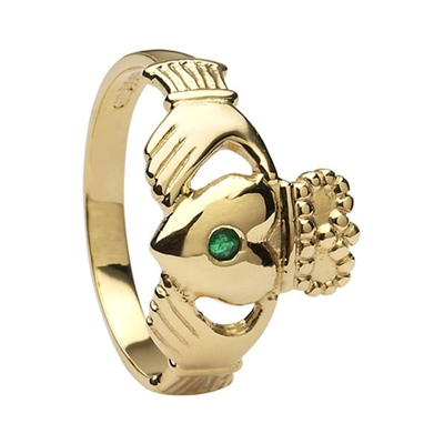 14k Yellow Gold Men's Emerald Large Claddagh Ring 14mm