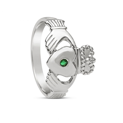 14k White Gold Men's Emerald Large Claddagh Ring 14mm