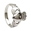 14k White Gold No.5 Style Medium Men's Claddagh Ring 14mm