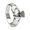 10k White Gold No.6 Style Men's Claddagh Ring 12.5mm