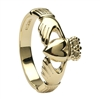 14k Yellow Gold No.6 Style Men's Claddagh Ring 12.5mm
