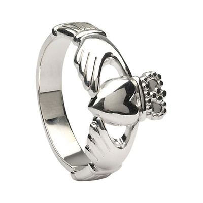 14k White Gold No.6 Style Men's Claddagh Ring 12.5mm