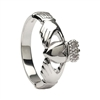 10k White Gold Heavy Small Claddagh Ring 10.2mm