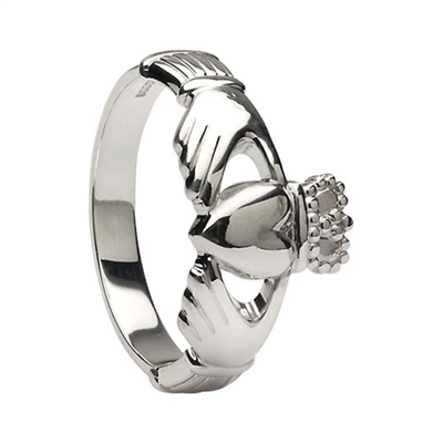 14k White Gold Heavy Small Claddagh Ring 10.2mm