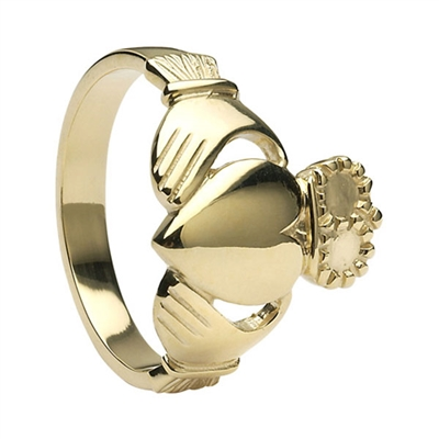 10k Yellow Gold No.6 Style Large Heavy Men's Claddagh Ring 17.3mm