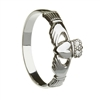 10k White Gold Small Heavy Small Claddagh Ring 8.6mm