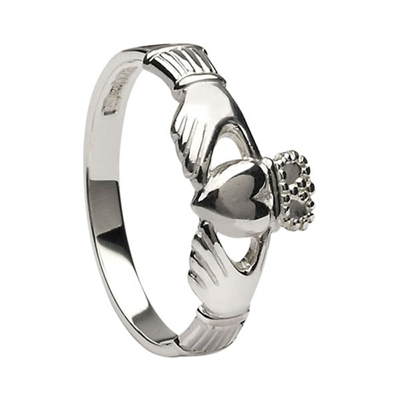 14k White Gold Small Heavy Small Claddagh Ring 8.6mm