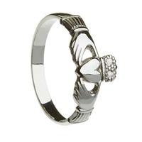 Sterling Silver Small Heavy Claddagh Ring 8.6mm