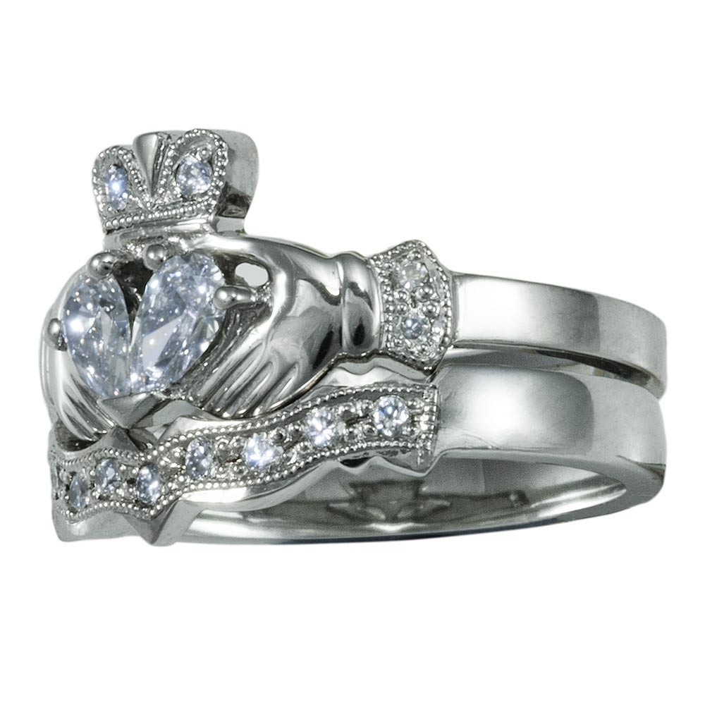 14k white gold claddagh diamond engagement ring & wedding ring set