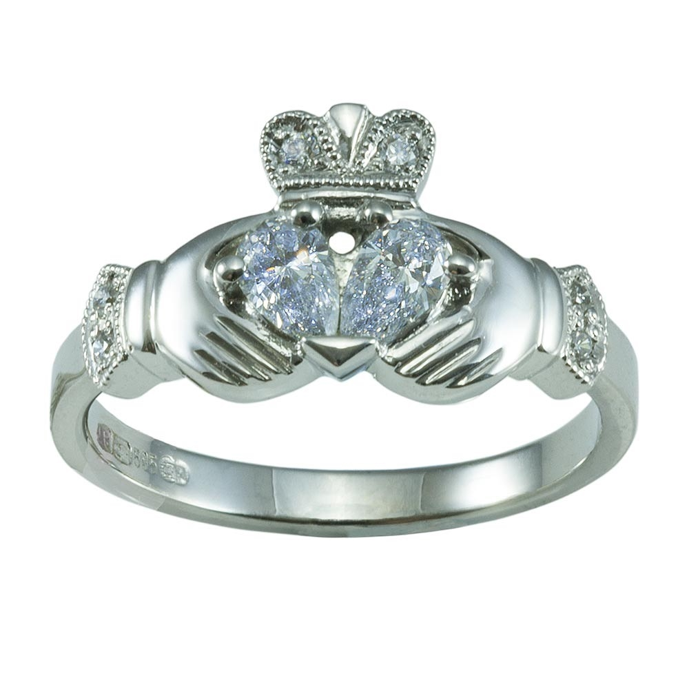 14k white gold claddagh diamond engagement ring wedding ring set - Claddagh Wedding Ring Sets