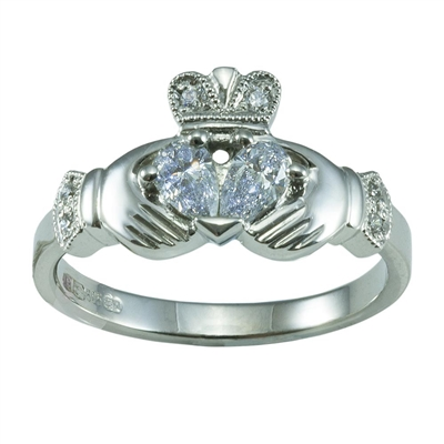 14k White Gold Split Heart Ladies Diamond Claddagh Ring