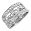 14k White Gold Ladies Double Row Diamond Claddagh Ring