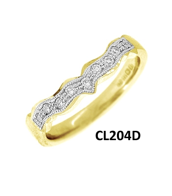 14k Yellow Gold Diamond Shaped Wedding Ring