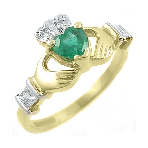 14k Yellow Gold Ladies Emerald & Channel Set Diamond Claddagh Ring