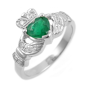 14k White Gold Ladies Heart Shaped Emerald & Diamond Claddagh Ring 10mm