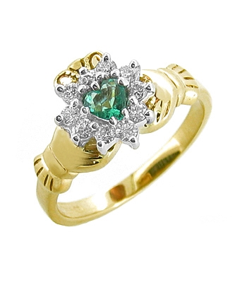 14k Yellow Gold Ladies Emerald & Diamond Claddagh Ring