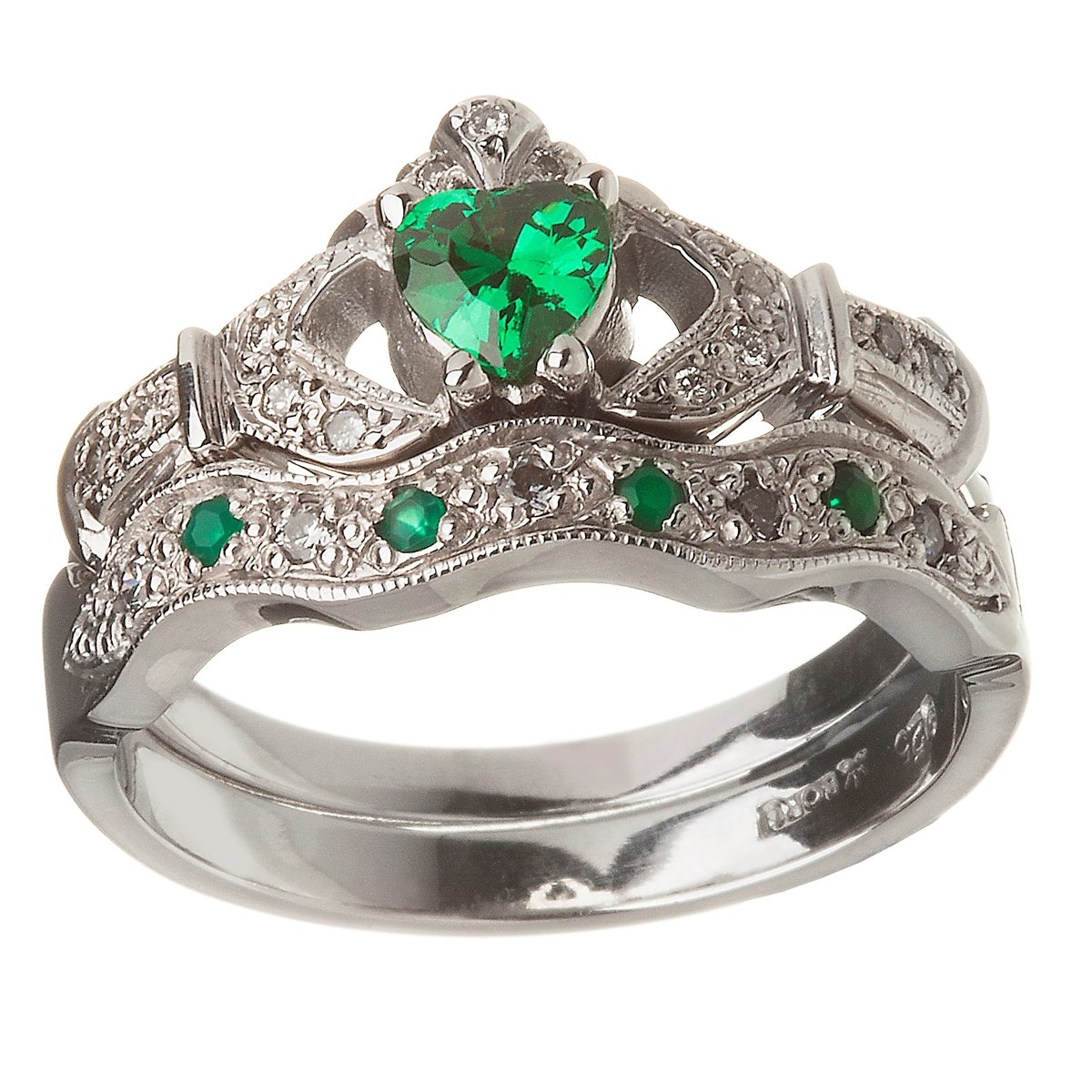 14k white gold emerald set heart claddagh ring & wedding ring set