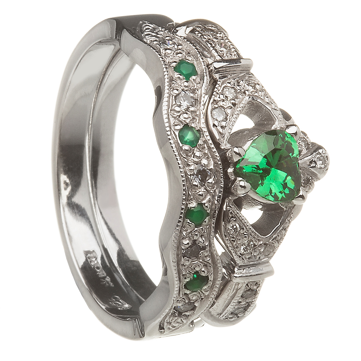 14k white gold emerald set heart claddagh ring wedding ring set - Claddagh Wedding Ring