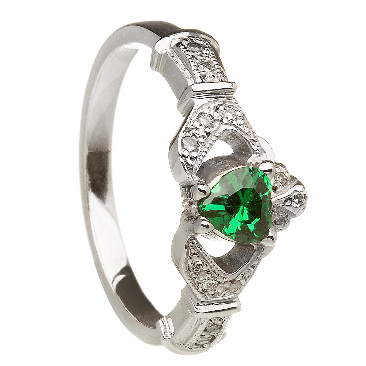 14k white gold emerald set heart claddagh ring wedding ring set