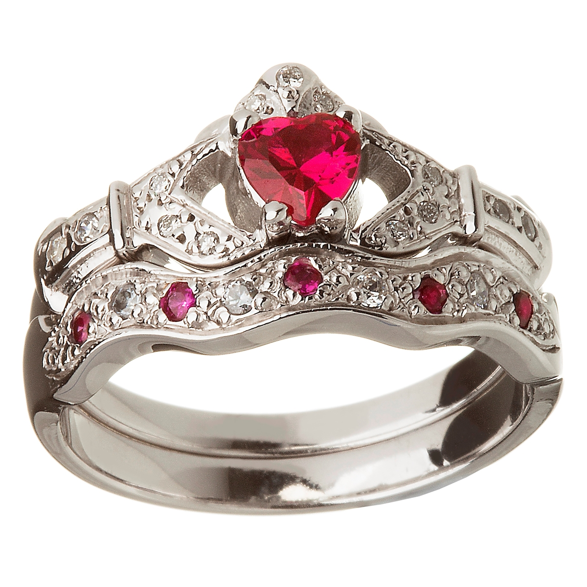 14k white gold ruby set heart claddagh ring wedding ring set - Claddagh Wedding Ring Sets