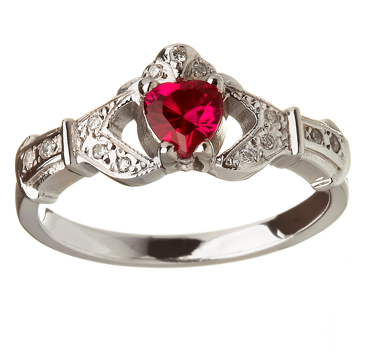 14k white gold ruby set heart claddagh ring wedding ring set junglespirit Image collections