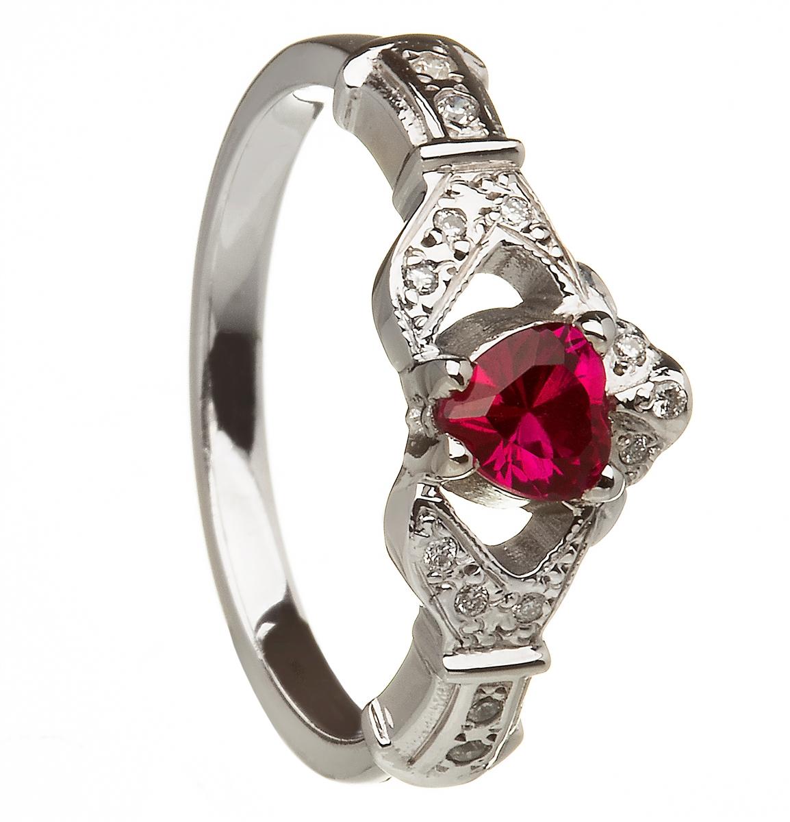 14k white gold ruby set heart claddagh ring wedding ring set - Ruby Wedding Ring Sets