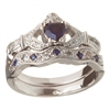 14k White Gold Sapphire Set Heart Claddagh Ring & Wedding Ring Set