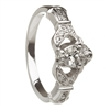 14k White Gold Diamond Set Heart Claddagh Ring 12.4mm