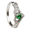 14k White Gold Emerald Set Heart Claddagh Ring 12.4mm
