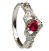 14k White Gold Ruby Set Heart Claddagh Ring 12.4mm