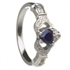 14k White Gold Sapphire Set Heart Claddagh Ring 12.4mm