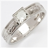 14k White Gold Ladies Solitaire Diamond Claddagh Ring