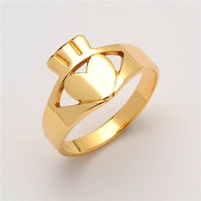 10k Yellow Gold Ladies Contemporary Claddagh Ring 12mm
