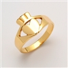 14k Yellow Gold Ladies Contemporary Claddagh Ring 12mm