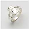 14k White Gold Ladies Contemporary Claddagh Ring 12mm